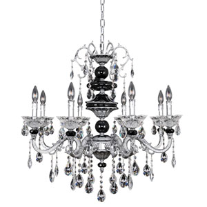 Faure Chrome Eight-Light Chandelier with Firenze Clear Crystal