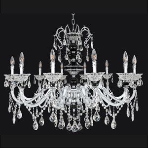 Faure Chrome 10-Light Chandelier with Swarovski Strass Clear Crystal