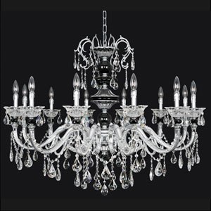 Faure Chrome 12-Light Chandelier with Swarovski Strass Clear Crystal