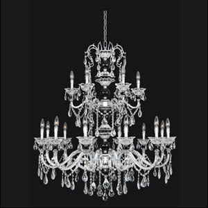 Faure Chrome 18-Light Chandelier with Swarovski Strass Clear Crystal