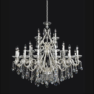 Rossi Two-Tone Silver 30-Light Chandelier with Swarovski Strass Clear Crystal
