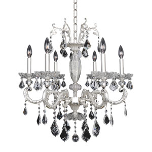 Casella Two-Tone Silver Six-Light 26-Inch Wide Chandelier with Firenze Clear Crystal