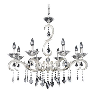 Scarlatti Two-Tone Silver Eight-Light 31.5-Inch Wide Chandelier with Firenze Clear Crystal