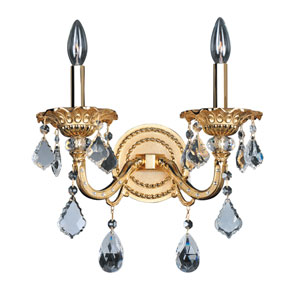 Vivaldi Two-Tone 24K Gold Two-Light 13.5-Inch Wide Wall Bracket with Firenze Clear Crystal