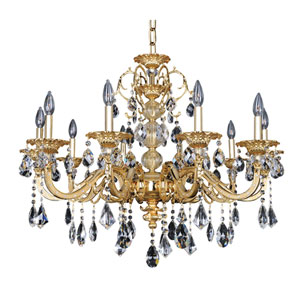 Vivaldi Two-Tone 24K Gold 10-Light 33.5-Inch Wide Chandelier with Firenze Clear Crystal