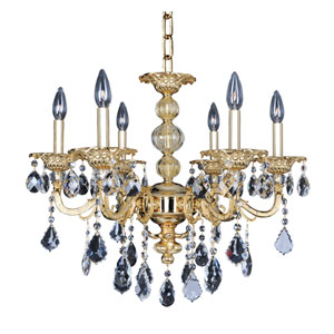 Vivaldi Two-Tone 24K Gold Six-Light 24-Inch Wide Chandelier with Firenze Clear Crystal