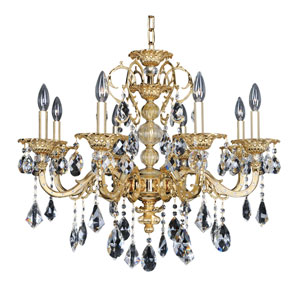 Vivaldi Two-Tone 24K Gold Eight-Light 28.5-Inch Wide Chandelier with Firenze Clear Crystal