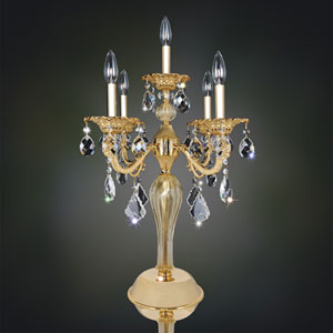Vivaldi Two-Tone Gold 24K Five-Light Table Lamp with Firenze Clear Crystal