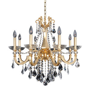 Barret French 24K Gold Eight-Light Chandelier with Firenze Clear Crystal