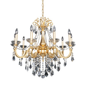 Barret French 24K Gold 10-Light Chandelier with Firenze Clear Crystal