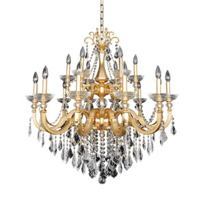 Barret French 24K Gold 18-Light Chandelier with Firenze Clear Crystal