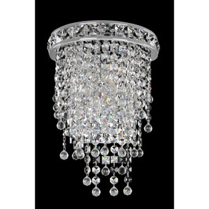 Cascata Chrome Two-Light Sconce with Firenze Clear Crystal