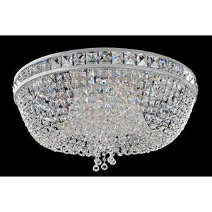 Cascata Chrome Six-Light Flush Mount with Firenze Clear Crystal
