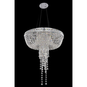 Cascata Chrome Six-Light Chandelier with Firenze Clear Crystal
