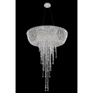 Cascata Chrome Eight-Light Chandelier with Firenze Clear Crystal