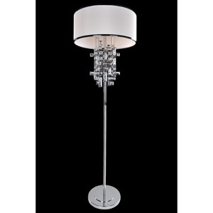 Vermeer Chrome Three-Light Floor Lamp with Firenze Clear Crystal