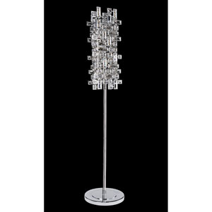 Vermeer Chrome Four-Light Floor Lamp with Firenze Clear Crystal