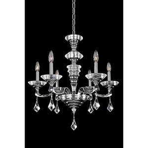 Cosimo Polished Chrome Six-Light Chandelier with Firenze Clear Crystal