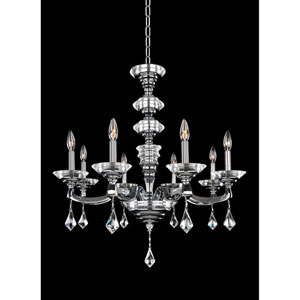 Cosimo Polished Chrome Eight-Light Chandelier with Firenze Clear Crystal