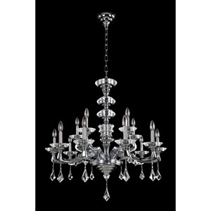 Cosimo Polished Chrome 12-Light Chandelier with Firenze Clear Crystal
