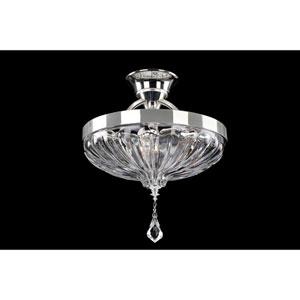 Orecchini Chrome Three-Light 13-Inch Semi Flush with Firenze Clear Crystal