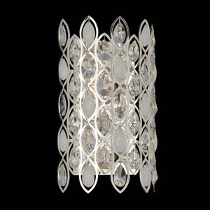 Prive Silver Four-Light Vertical Sconce with Firenze Clear Crystal