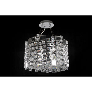 Dolo Chrome Four-Light Pendant with Firenze Clear Crystal