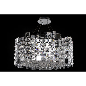 Dolo Chrome Eight-Light Pendant with Firenze Clear Crystal