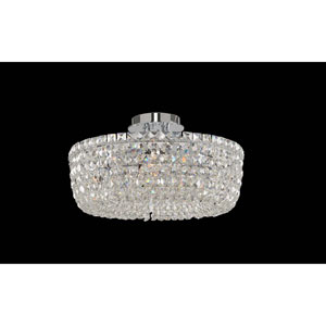 Cessano Polished Chrome Five-Light Semi Flush with Firenze Clear Crystal