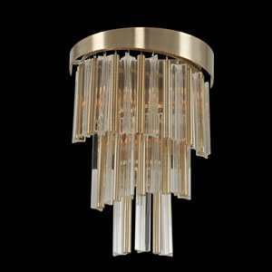 Espirali Brushed Champagne Gold Three-Light Sconce with Firenze Clear Crystal