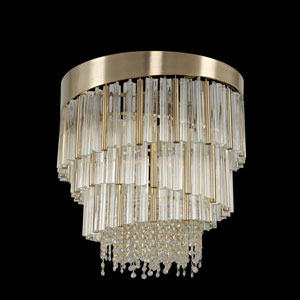 Espirali Brushed Champagne Gold Six-Light Chandelier with Firenze Clear Crystal