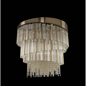 Espirali Brushed Champagne Gold Nine-Light Chandelier with Firenze Clear Crystal