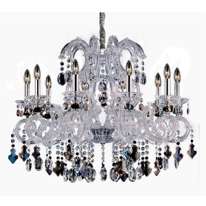 Lorraine Chrome 10-Light 34-Inch Wide Chandelier with Firenze Mixed Crystal
