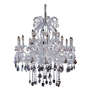 Lorraine Chrome 18-Light 37.5-Inch Wide Chandelier with Firenze Mixed Crystal