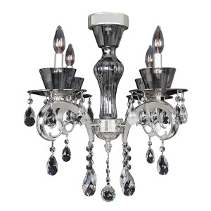 Locatelli Two-Tone Silver Four-Light Convertible Flush Mount with Firenze Clear Crystal