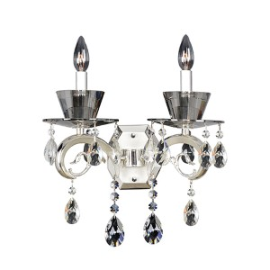 Locatelli Two-Tone Silver Two-Light Wall Bracket with Firenze Clear Crystal