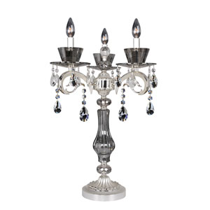 Locatelli Two-Tone Silver Three-Light Table Lamp with Firenze Clear Crystal
