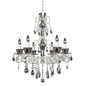 Locatelli Two-Tone Silver Six-Light 30.5-Inch High Chandelier with Firenze Clear Crystal