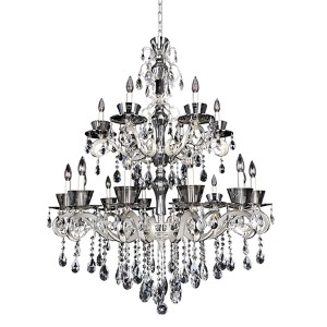 Locatelli Two-Tone Silver 18-Light Two Tier Chandelier with Firenze Clear Crystal