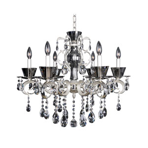 Locatelli Two-Tone Silver Six-Light 20-Inch High Chandelier with Firenze Clear Crystal
