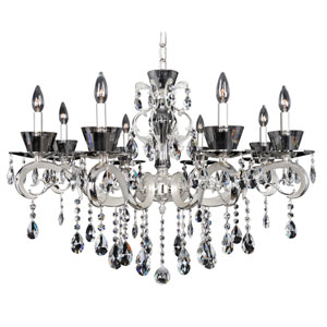 Locatelli Two-Tone Silver Eight-Light Chandelier with Firenze Clear Crystal