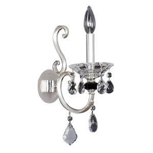 Bedetti Two-Tone Silver One-Light Wall Bracket with Firenze Clear Crystal