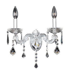 Giordano Chrome Two-Light 12-Inch Wide Wall Bracket with Firenze Clear Crystal