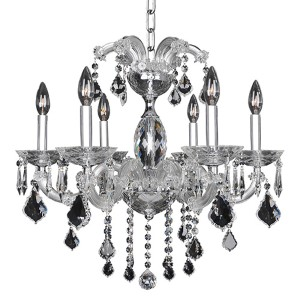 Giordano Chrome Six-Light 24-Inch Wide Chandelier with Firenze Clear Crystal