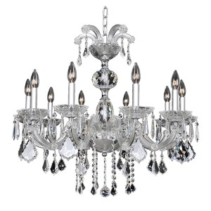 Giordano Chrome 10-Light 30-Inch Wide Chandelier with Firenze Clear Crystal