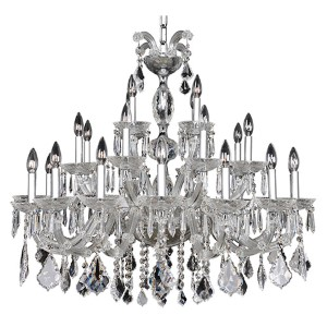 Giordano Chrome 28-Light 38-Inch Wide Chandelier with Firenze Clear Crystal
