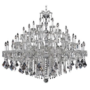 Giordano Chrome 60-Light 63-Inch Wide Chandelier with Firenze Clear Crystal