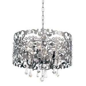 Bizet Black Pearl Six-Light Chandelier with Firenze Clear Crystal