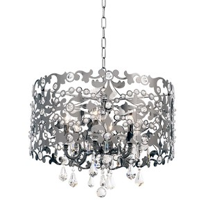 Bizet Black Pearl Six-Light Chandelier with Swarovski Strass Crystal