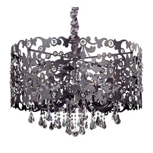 Bizet Black Pearl Eight-Light Chandelier with Firenze Clear Crystal